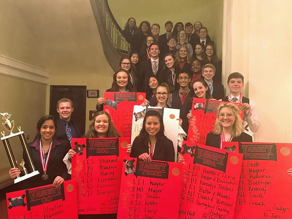 The Harrisburg High School speech team placed second out of 13 teams at the Southern Illinois University Carbondale tournament Saturday.