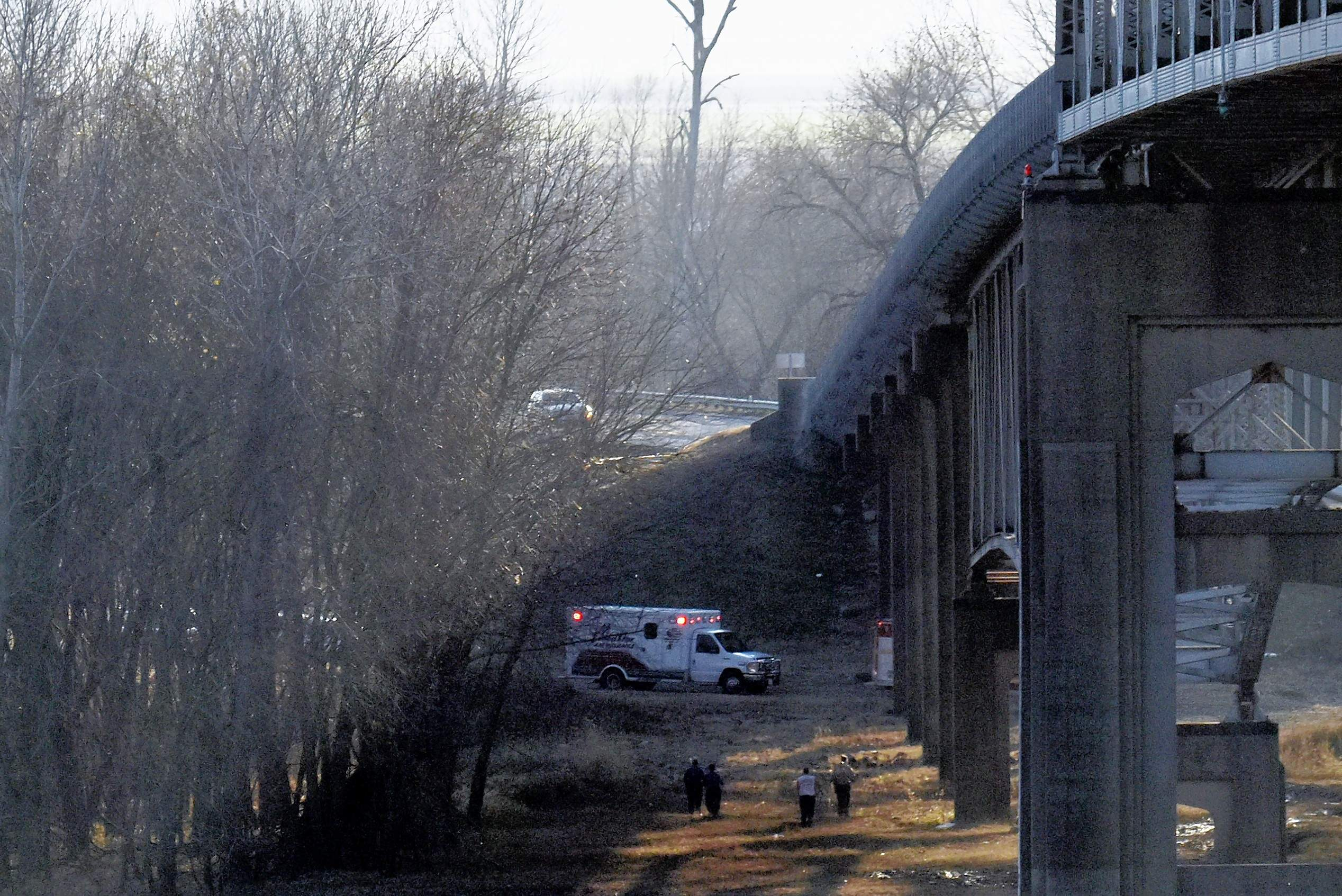 Emergency services personnel search below the Chester Bridge on Horse Island for a man reported to have either fallen or jumped off the bridge last Saturday. The unnamed man was safely taken into custody and is receiving help, according to Perry County (Missouri) Sheriff Gary Schaaf.
