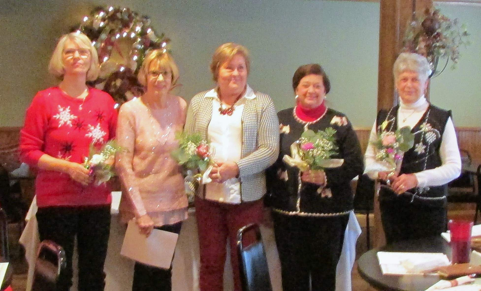 Liz Garrett installs 2018 officers at the final meeting of the Eldorado Garden Study Club on Dec. 7 at The Red Onion restaurant in Equality. From left, are Dana Keating, secretary; Liz Garrett, past president; Jan Cleveland, president; Marilyn Ellis, vice president; and Dixie Long, treasurer. Regular club meetings begin again in March.