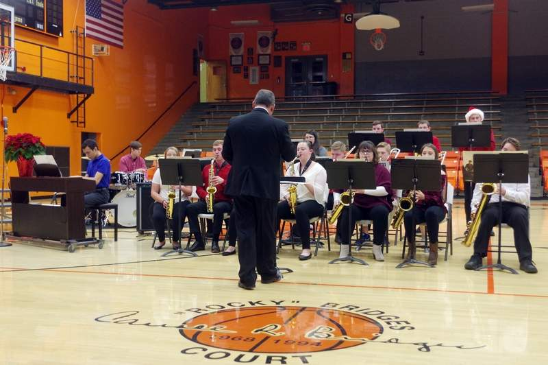 """The Chester High School Jazz band performed three selections - """"You're a Mean One Mr. Grinch,"""" """"Have Yourself a Merry Little Christmas"""" and """"This Christmas."""""""
