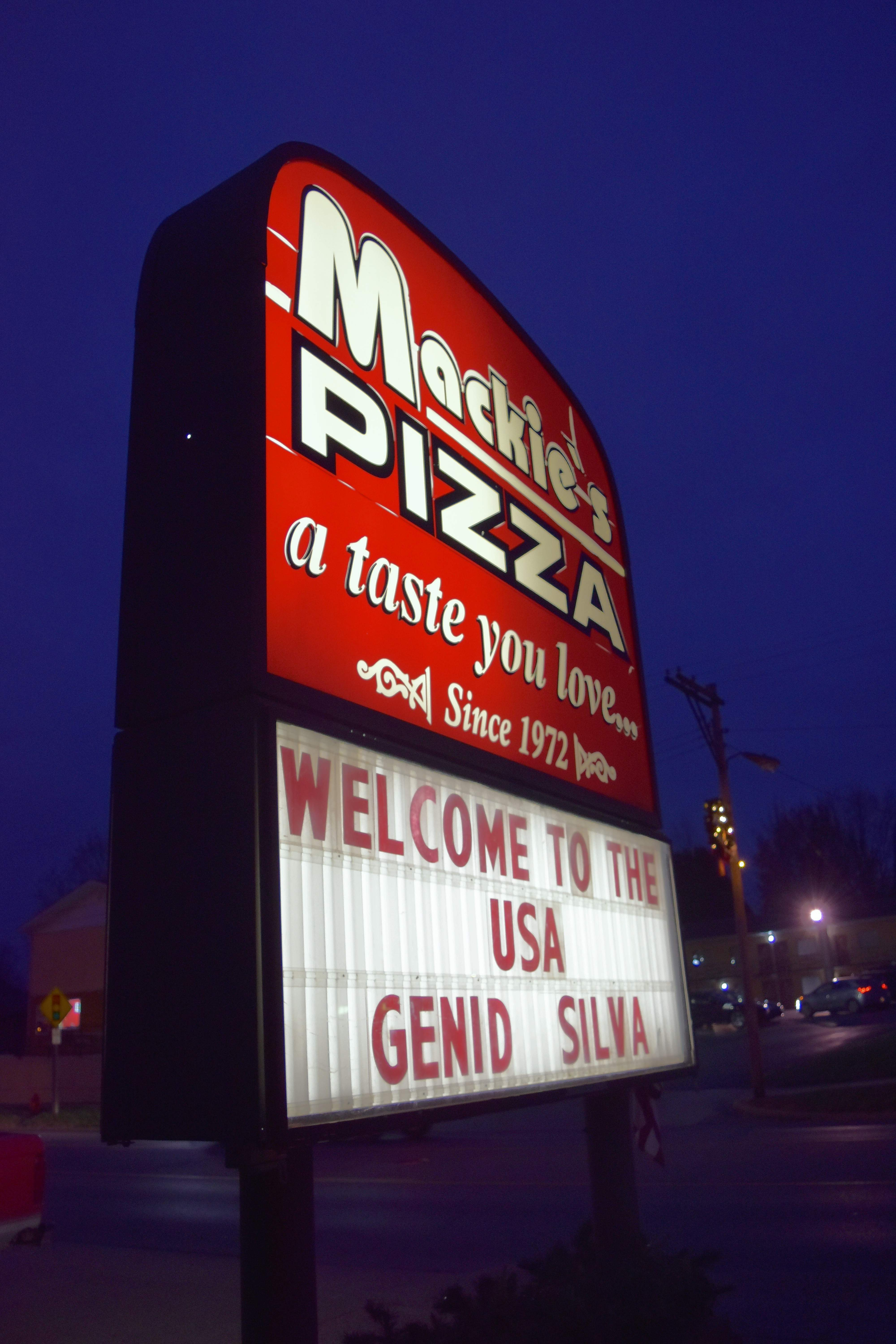 The Mackie's Pizza marquee announced Silva's arrival Thursday night.
