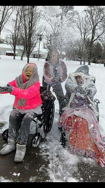 While all of Saline County was covered with snow, some residents of the Saline Care Center Nursing and Rehabilitation Center in Harrisburg convinced Recreation Director Tammy Smith and Janice Oldham they needed to have a snowball fight. Smith, middle, is with residents Helen and Kathy.
