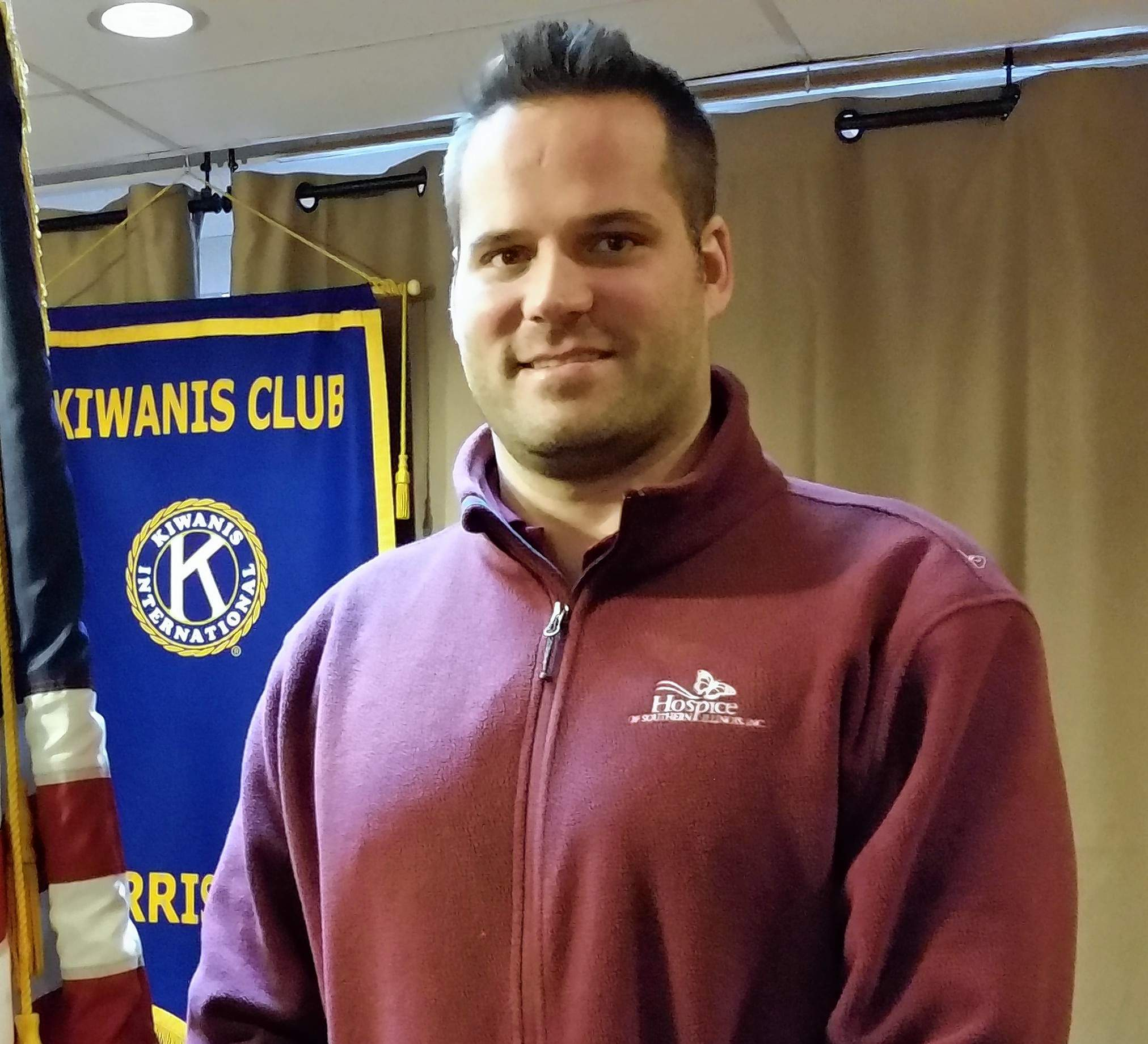 Stephan Ackermann spoke during a recent Harrisburg Kiwanis Club meeting about Hospice of Southern Illinois.