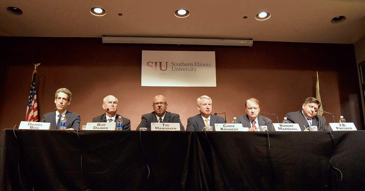 The Democratic candidates for Illinois governor are (from left to right) Daniel Biss, Bob Daiber, Tio Hardiman, Chris Kennedy, Robert Marshall and J.B. Pritzker. The six met Tuesday for a forum at the SIU Student Center.