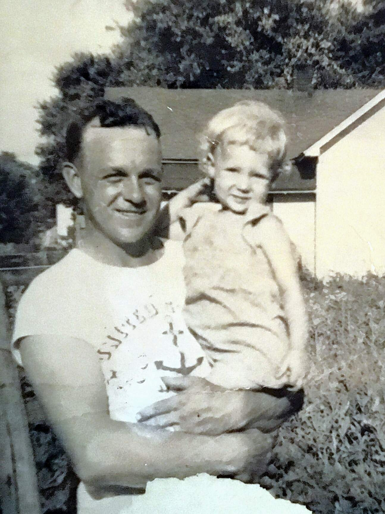Arthur Keller with his daughter, Phyllis, taken while he was home on leave from the U.S. Navy during World War II.