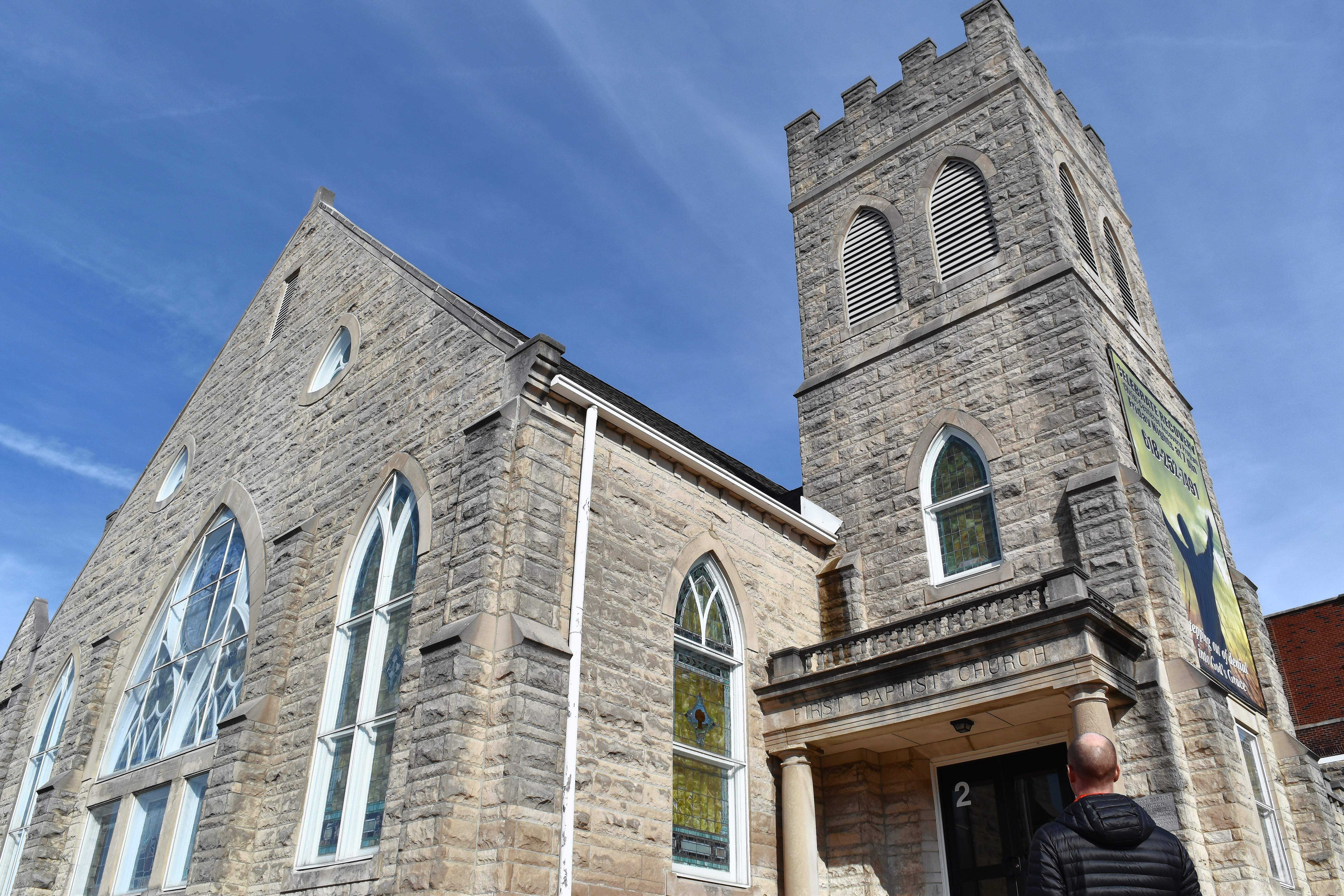 Harrisburg First Baptist Church Pastor Chris Winkleman looks at the church building and reflects on the church's 150-year history. A celebration of that history will be Feb. 17-18.