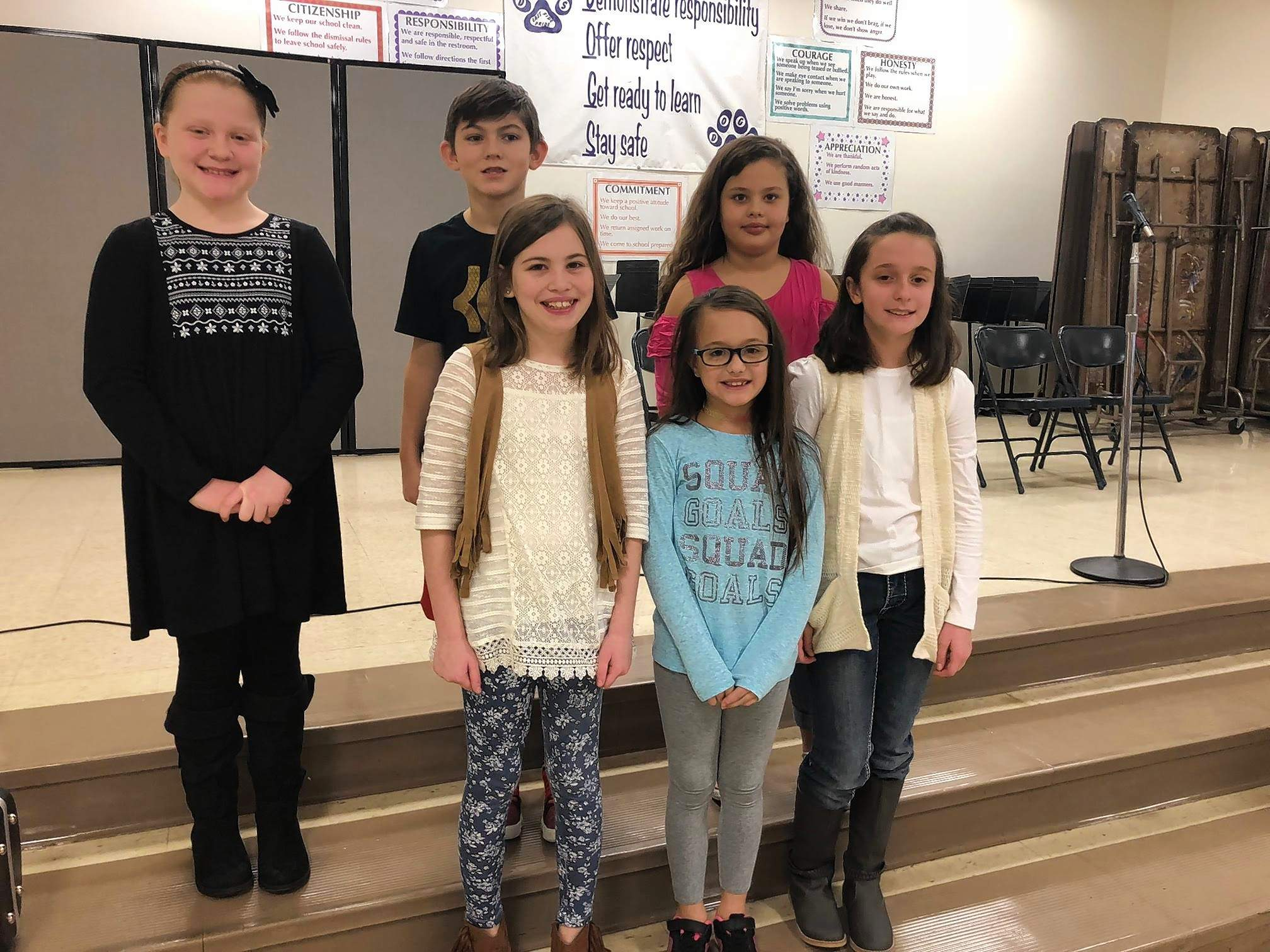 East Side Intermediate School spelling bee participants were: Front Row: Kaylee Vinson, Toree Wallace, and Cora Patterson. Back Row: Hadley Hunt, Dathan Case, and Layla Scott.