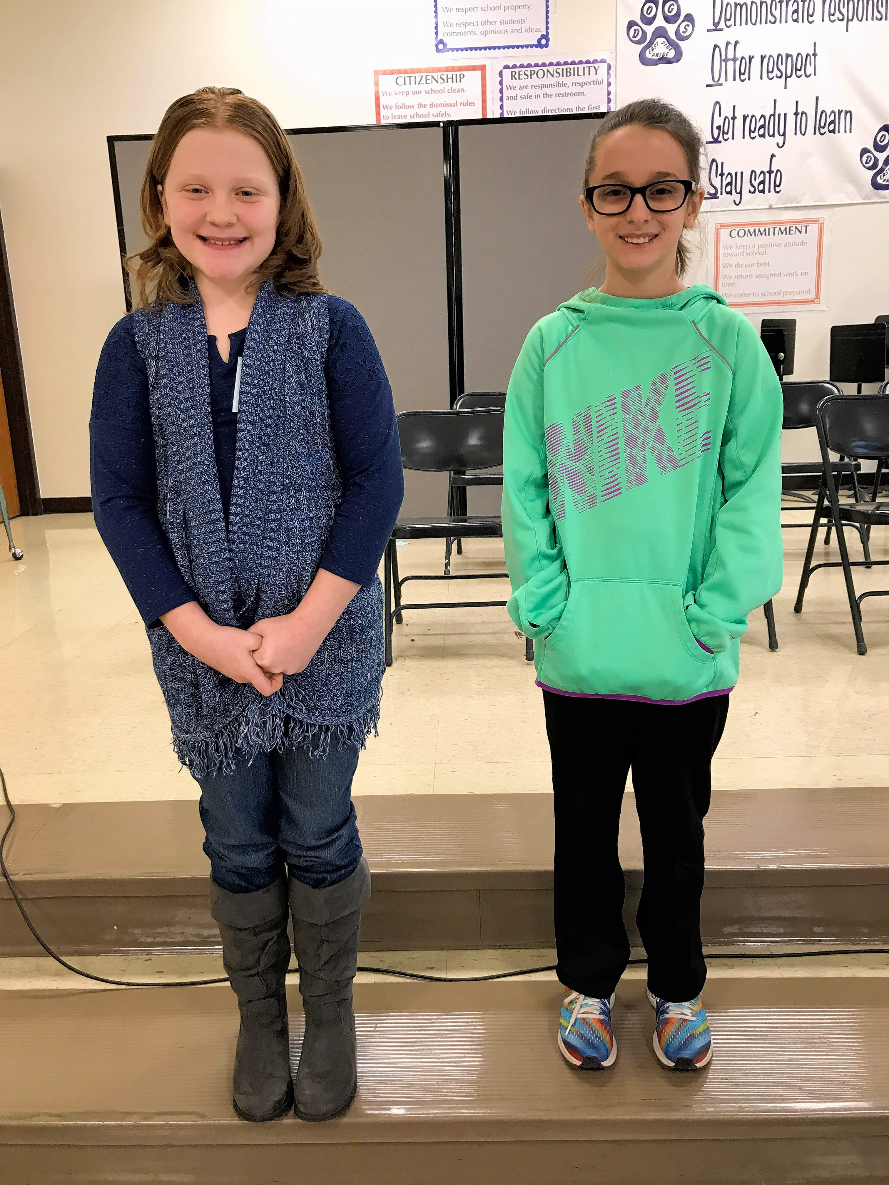 4th grade winner Hadley Hunt, left, and Cora Patterson, runner up