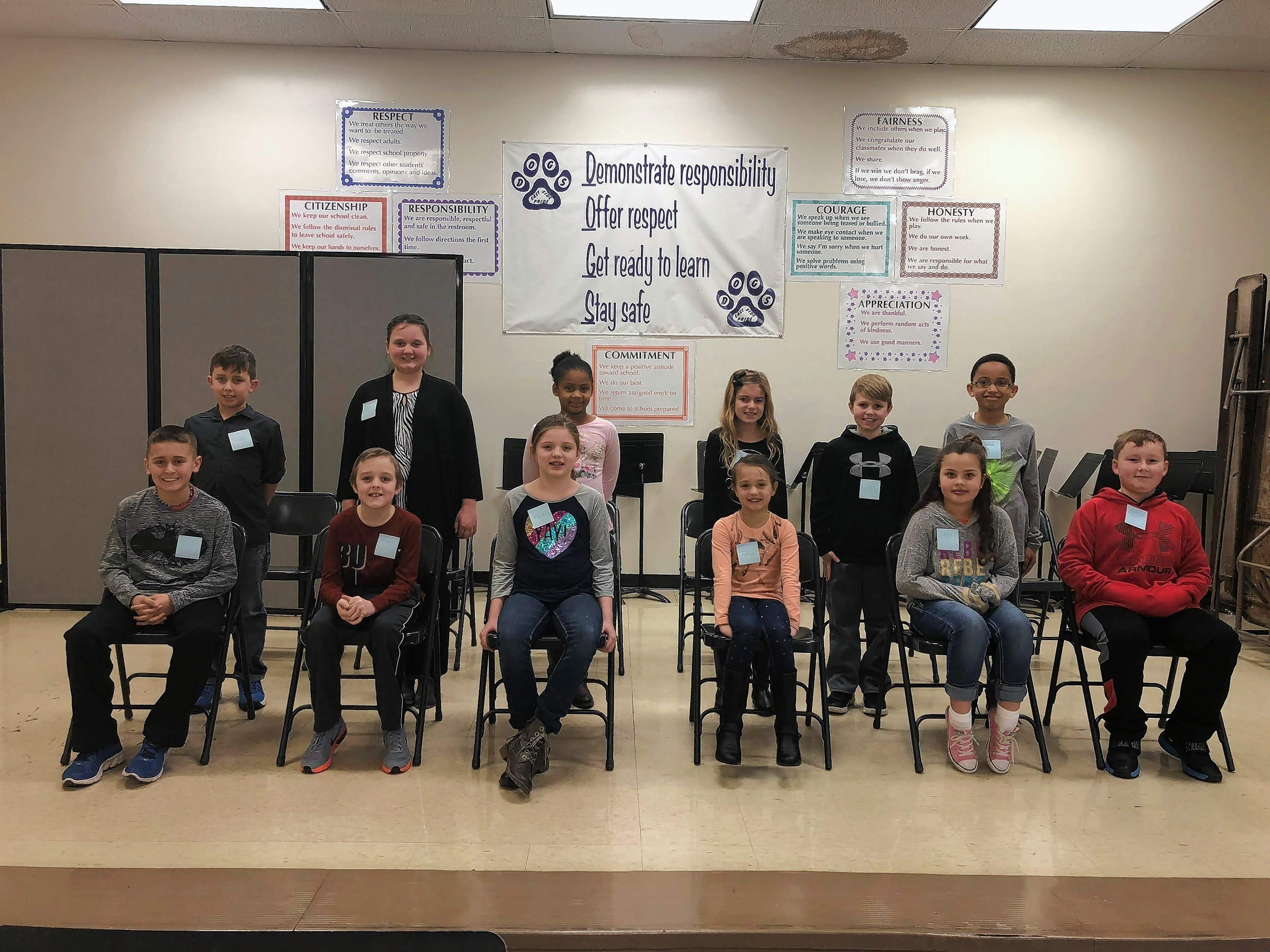 The third grade classroom winners. Front Row: Rylan Palmer, Aadyn Harrison, Marley Williams, Toree Wallace, Layla Scott, and Jarett Holbrook Back Row: Wiley Mott, Addison Stokich, Desinee Nelson, Lynlei Schiff, Maddux Smothers, and MaKiah Yarber