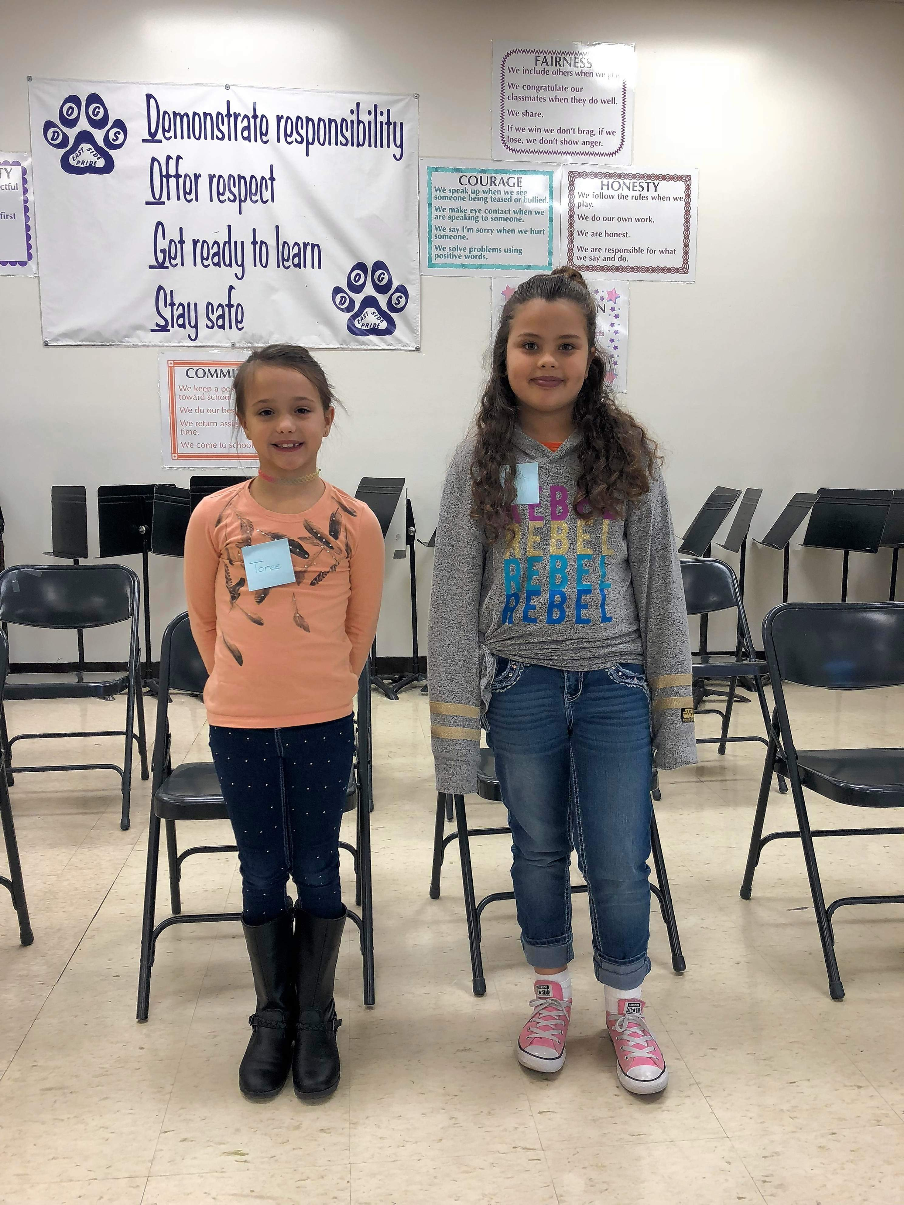 Third grade runners up Toree Wallace, left and Layla Scott.
