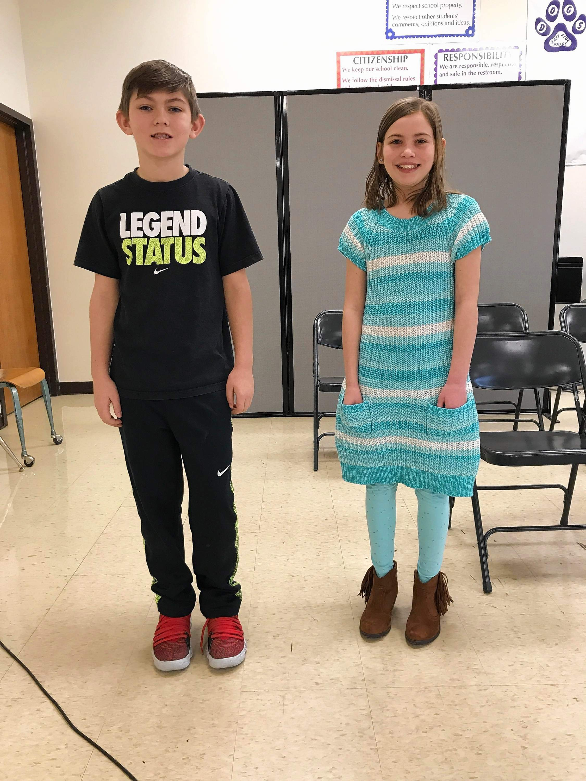 Fifth grade spelling bee winner Dalthan Case and runner-up Kaylee Vinson.