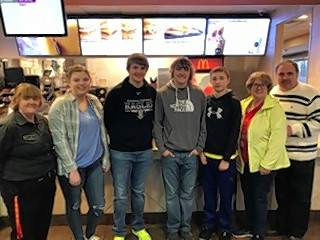 Top heart sellers for 2018 are, from left: Tammy Syers, Kynzie Sizemore, Braden Unthank, Hunter Biggerstaff, Jaxson Berry, Debbie Haney and Ken Haney. The money collected from the heart sales goes directly back to the Ronald McDonald House Charities. The organization ensures that families can stay together in times of medical need.