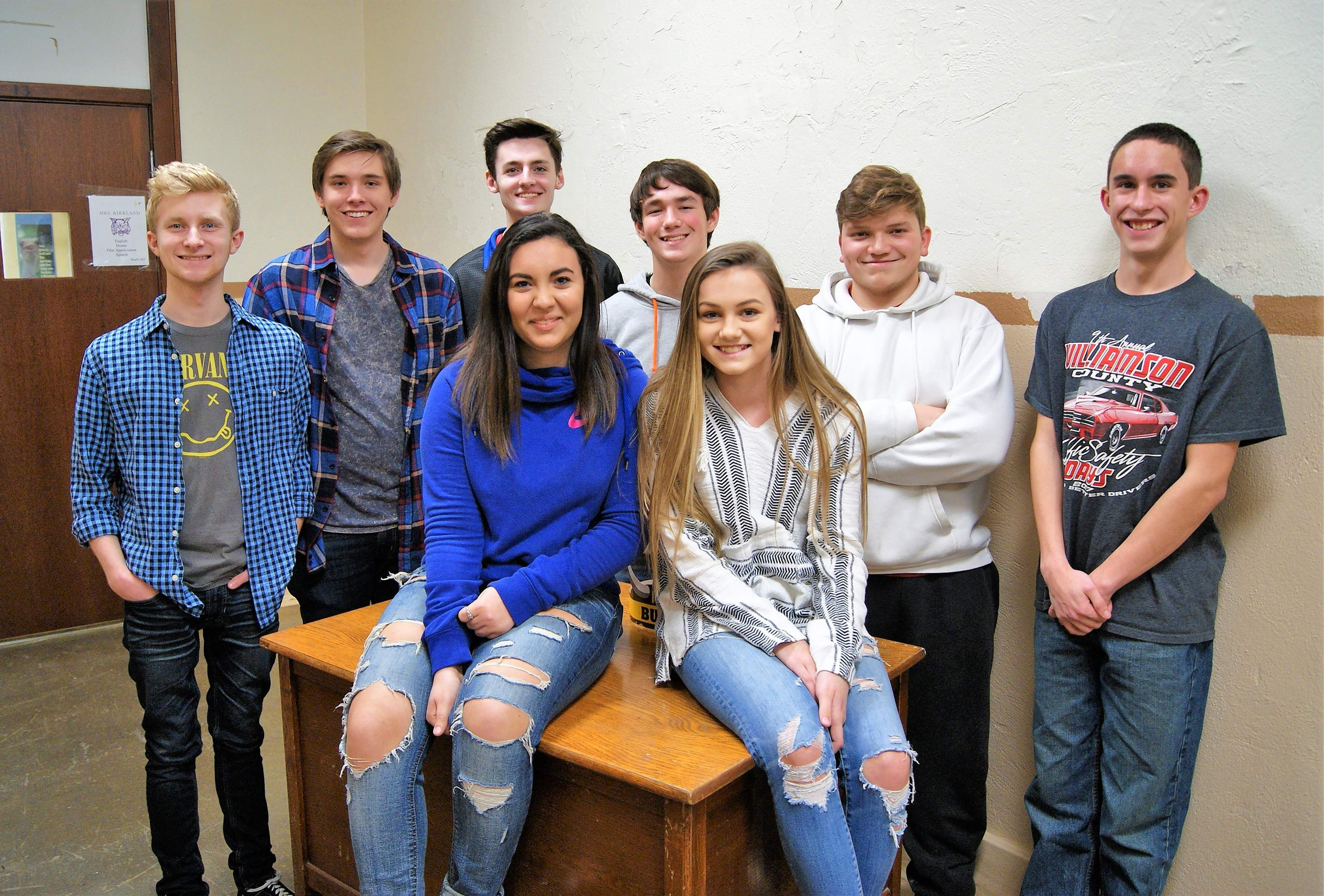 Members of the Math and Science Club are: Abbey Zertuche and Abby Whiting (sitting) and, from left, Kale Rister, Alex Peebels, Billy Lewis, Brandon Hambleton, Jeremy Cucinotta, and Kyle Bristow. Lauren Hancock was unavailable for the photo.