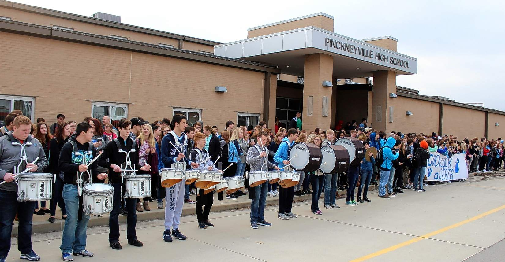 The PCHS drum line provides the beat for the rally.