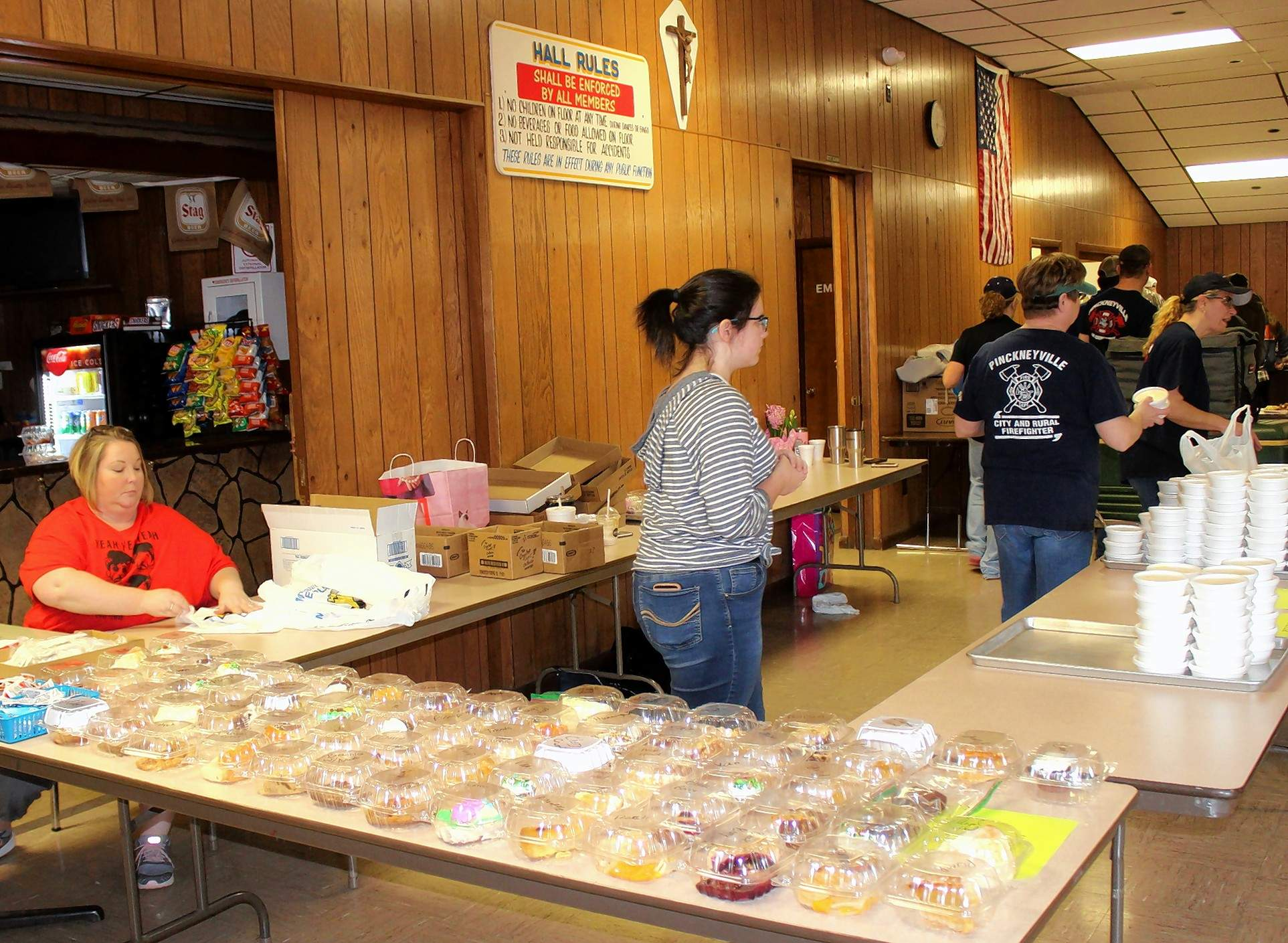 Desserts were available with fish dinners Friday at the fire department fundraiser in Pinckneyville.