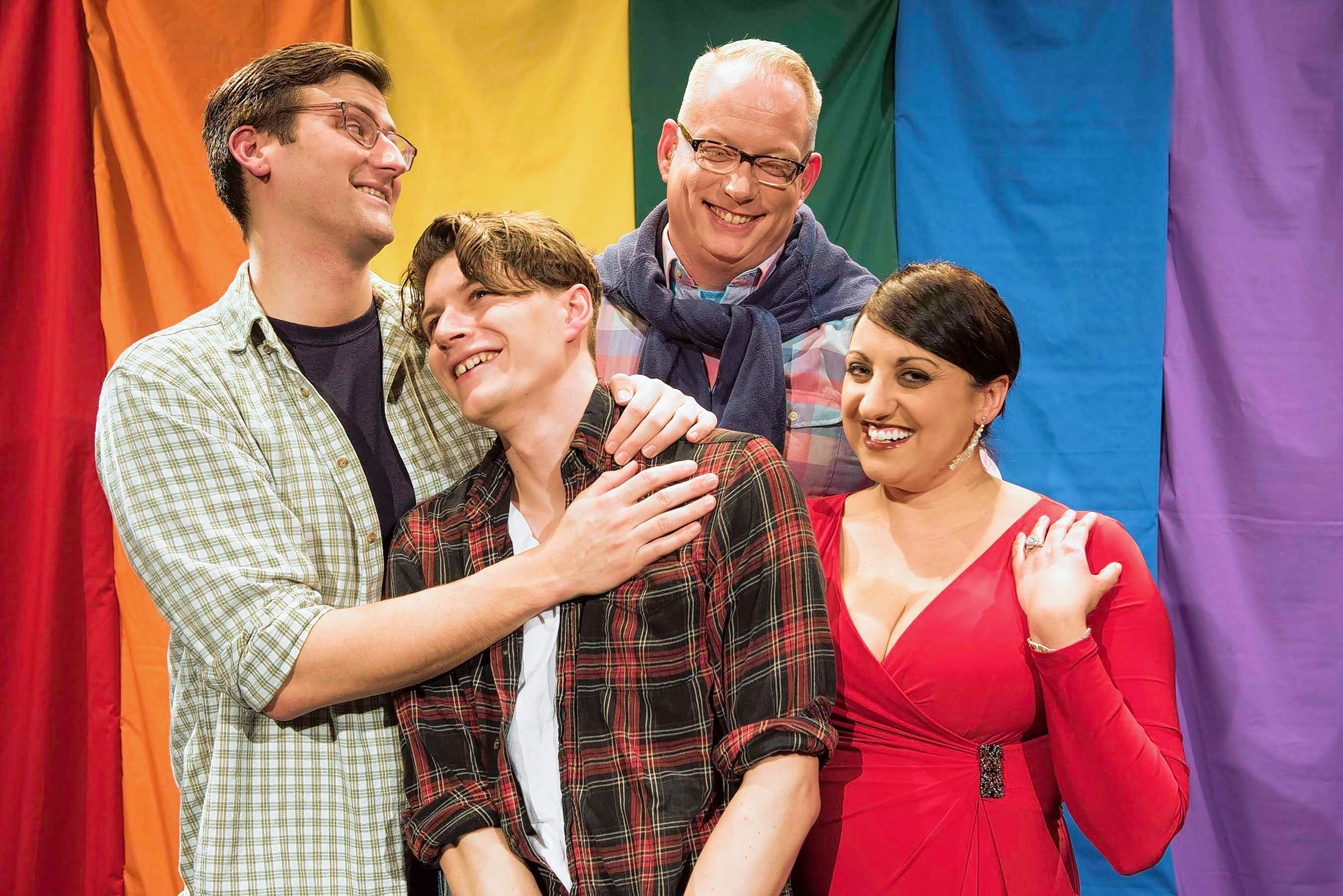 Seth Stearns, Jeremy Osinga, David Waters and Tricia Beth Burns star in the Jackson County Stage Company's production of 'Almost Identical,' which plays April 13 to 22 at the Varsity Center in Carbondale. The show, written and directed by Vincent Rhomberg, tells the story of twins, one gay and one straight, that accidentally begin to inhabit each other's lives in a development that builds a hilarious house of cards. Tickets are now available at stagecompany.org.