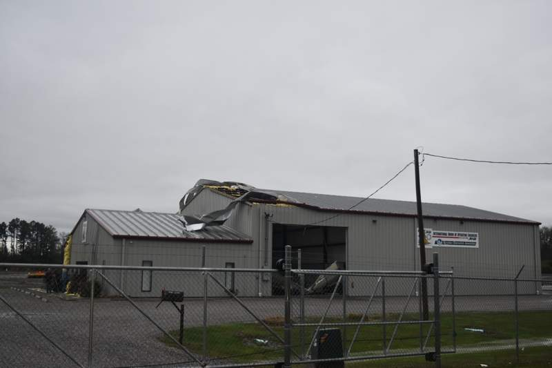 There was roof and door damage at the International Union of Operating Engineers 318 on College Street, about a mile east of Energy.