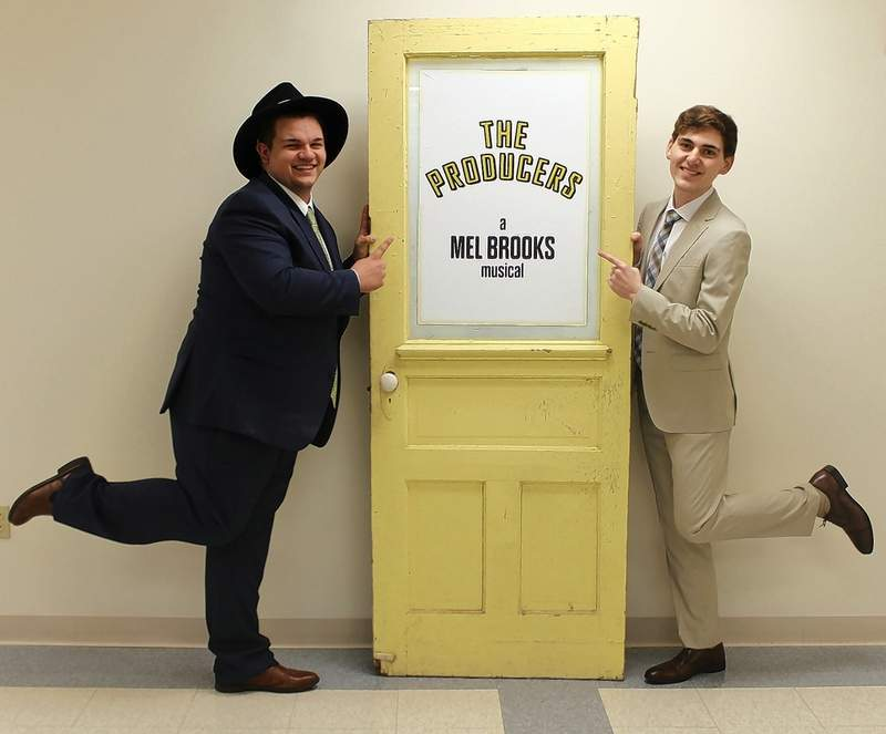 """Alex McRoy of Harrisburg (left) plays Max and Jordan Richey of Benton plays Leo, the main characters in """"The Producers"""" at SIC April 20-22."""