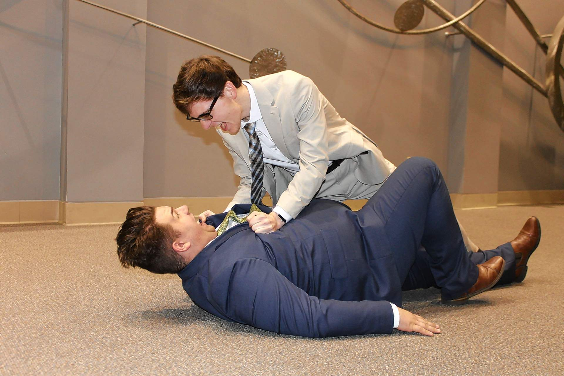 Max (Alex McRoy on left) and Leo (Jordan Richey) practice the fight scene for SIC's upcoming show 'The Producers. '