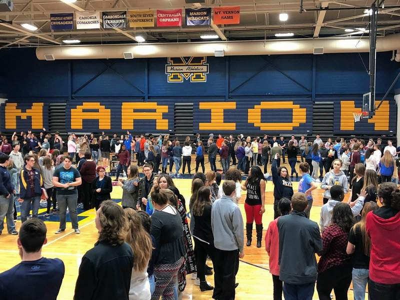 Marion High School students at the indoors assembly on March 14.