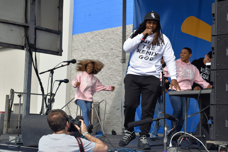 Atlanta-based remix artist D.J. Suede opens the Mason Ramsey concert at the Harrisburg Walmart Wednesday.