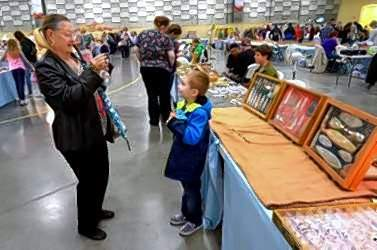 Debbie Dobraski of Johnston City snapped a photo of grandson, Bennett, Saturday at the 55th annual  Southern Illinois Earth Science Club, Inc.'s annual Gem, Mineral and Jewelry Show.