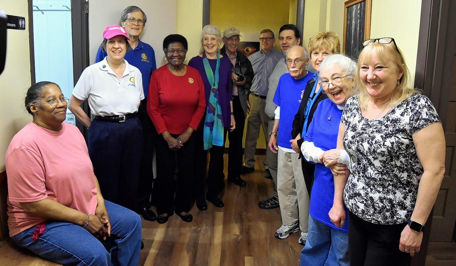 Three Carbondale-area Rotary clubs -- the Rotary Club of Carbondale, Rotary Club of Carbondale-Breakfast, and Rotary Club of Jackson Williamson Sunset -- recently teamed up to help replace flooring and trim on the second floor of the Good Samaritan House in Carbondale. Niemann's American Flooring donated materials and labor, and Rotary members contributed a combined 80 volunteer hours to the effort. They held a ribbon cutting Friday to mark completion.