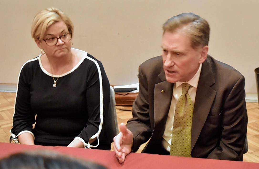 SIU President Randy Dunn and board of trustees Chairwoman Amy Sholar at the April 12 board meeting.