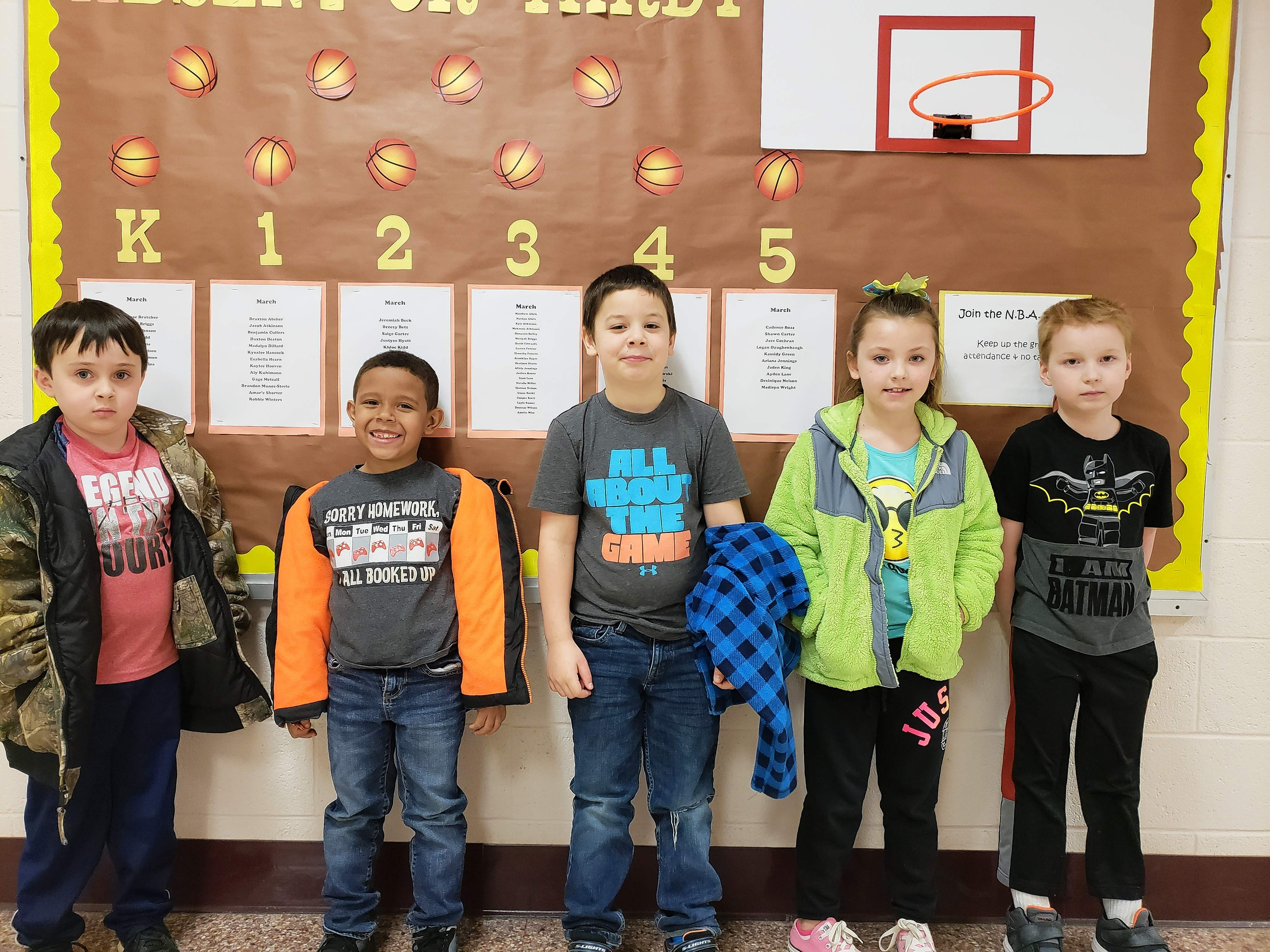 This week's Star Students are, from left: John Grimm, kindergarten; Isaiah Simpson, kindergarten; Charles Fitzpatrick IV, second grade; Kynslee Hancock, first grade and Robbie Winters, first grade.