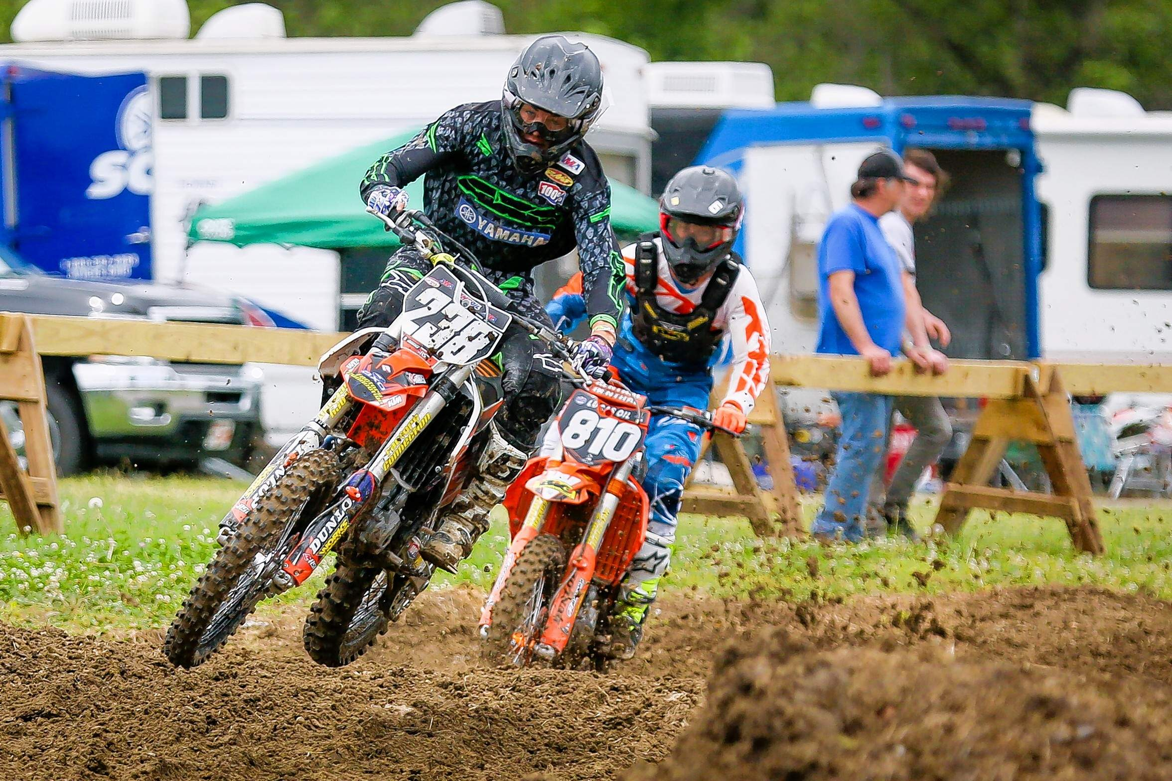 One of last year's highlights was Mason Eck of Collinsville, who in this photo is behind Richard Jackson of Holdenville, Okla., in the 250A, but who later beat out Jackson for first in the Open Pro Sport.