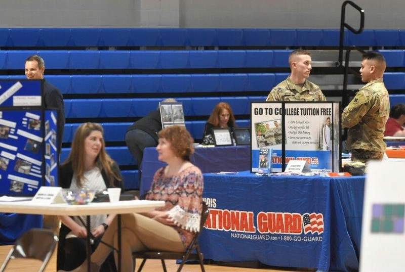 Numerous booths had information for potential workers at SIC's job fair on Wednesday.