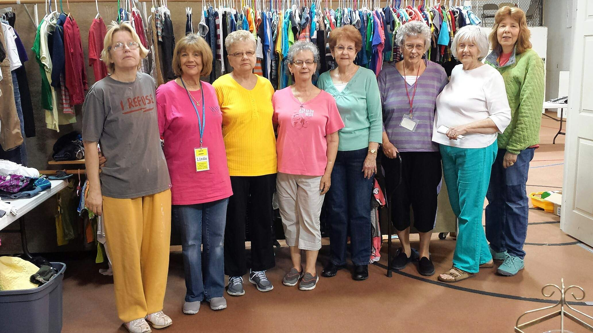 Volunteers of Mercy Center at Dorrisville Baptist Church include, from left, Sheila Mann, Linda Teegarden, Deloris Sharpin, Andrea Rector, Carolyn Dunn, Mary Smith, Judy Cowgur and Dena Elam. Darlene Colson was unavailable for the photo.