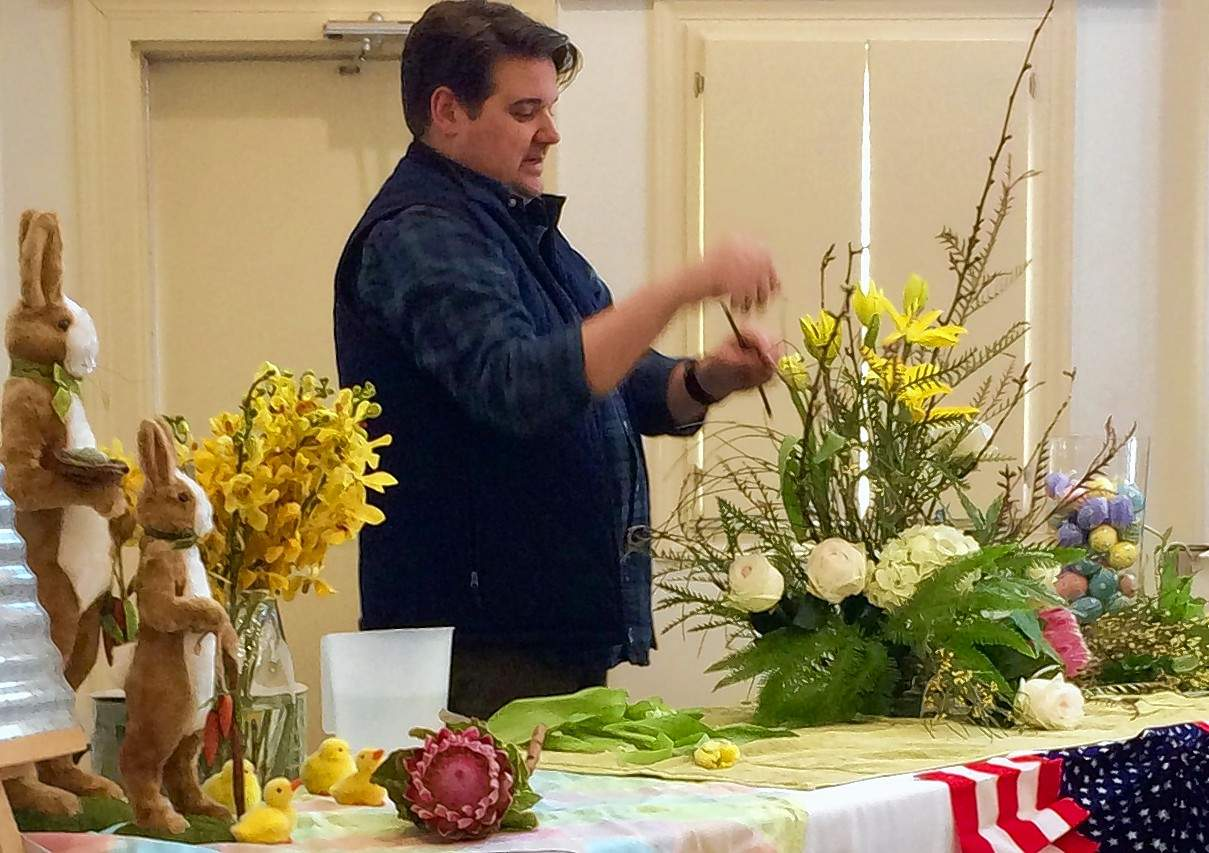 "Luke O'Neal's ""Timeless Designs"" floral displays and techniques were the highlight of the District VII of Garden Clubs of Illinois meeting in Eldorado in late March."