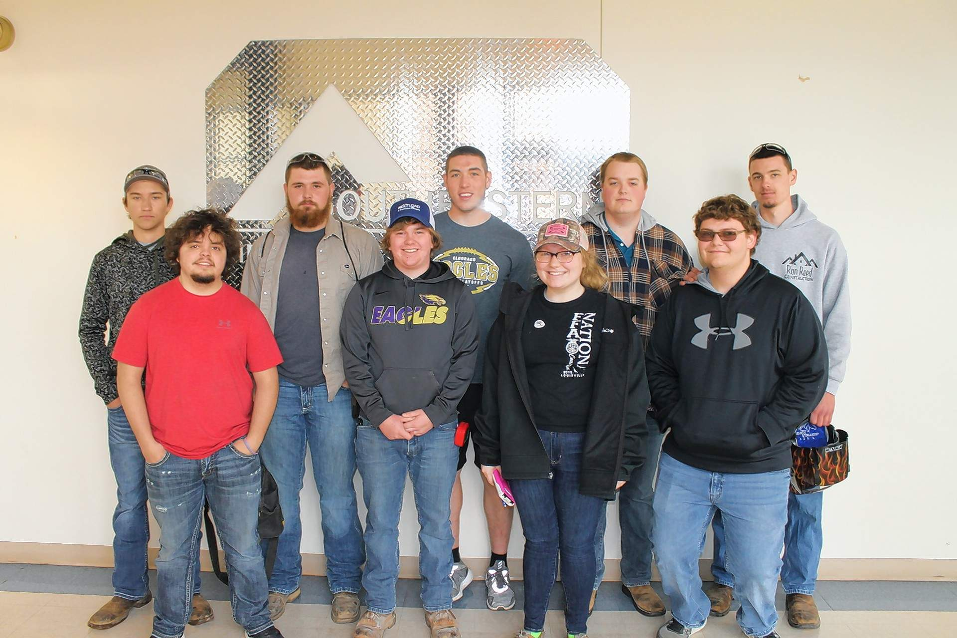 Eldorado High School's FFA Chapter placed second team overall at the 2018 FFA Section 25 Ag Mechanics Competition at Southeastern Illinois College. Pictured are (not in order): Ely Boulds, Jeremy Boulds, Gannon Mahoney, Braidon Minor, Garrik Quertermous, Lucas Rider, Chaitlyn Stanley, Jacob Traxler and Kyle Worley.