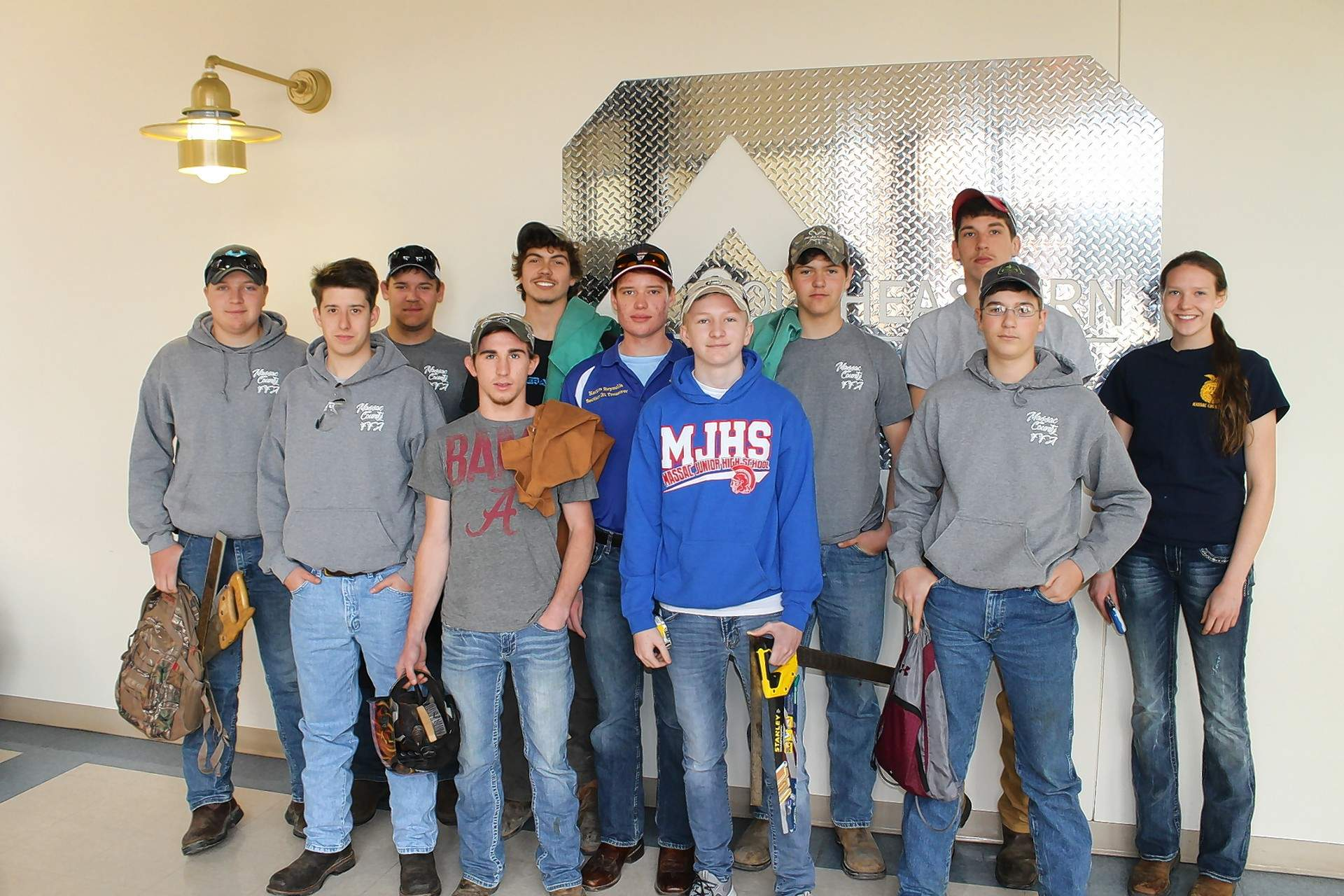 Massac County High School's FFA Chapter won first place team overall at the 2018 FFA Section 25 Ag Mechanics Competition at Southeastern Illinois College. Pictured are (not in order): Kyle Adkins, Garret Franklin, Eli Henry, Austin Korte, Jakob Korte, Jessie Lewis, Wyatt Obermark, Keeton Reynolds, Shorty Shin, Ben Travis and Josh Wrye.
