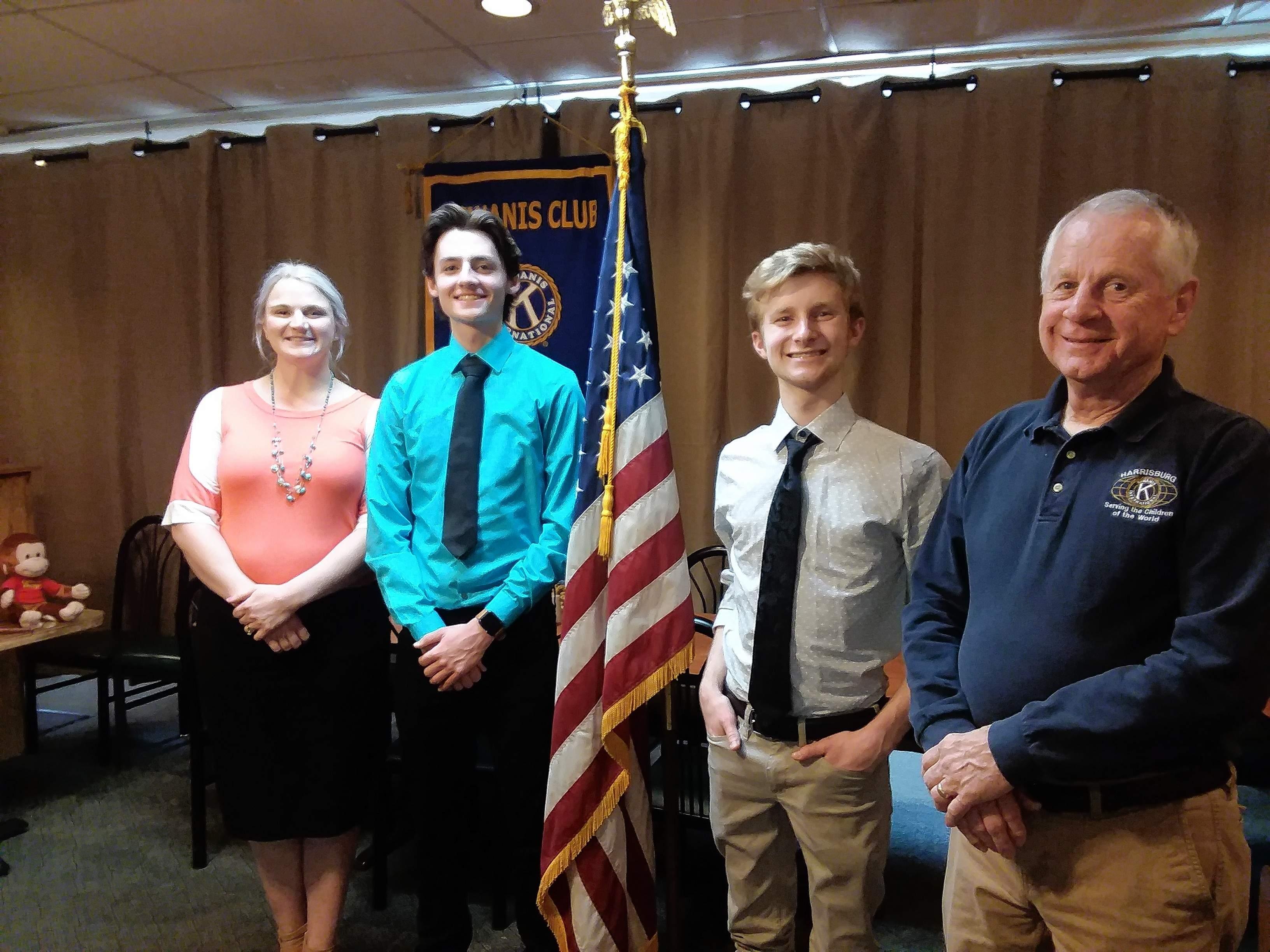 From left, Jessica Stevens, Kiwanis Vice President; Billy Lewis, Kayle Rister, Monty Field, program sponsor.