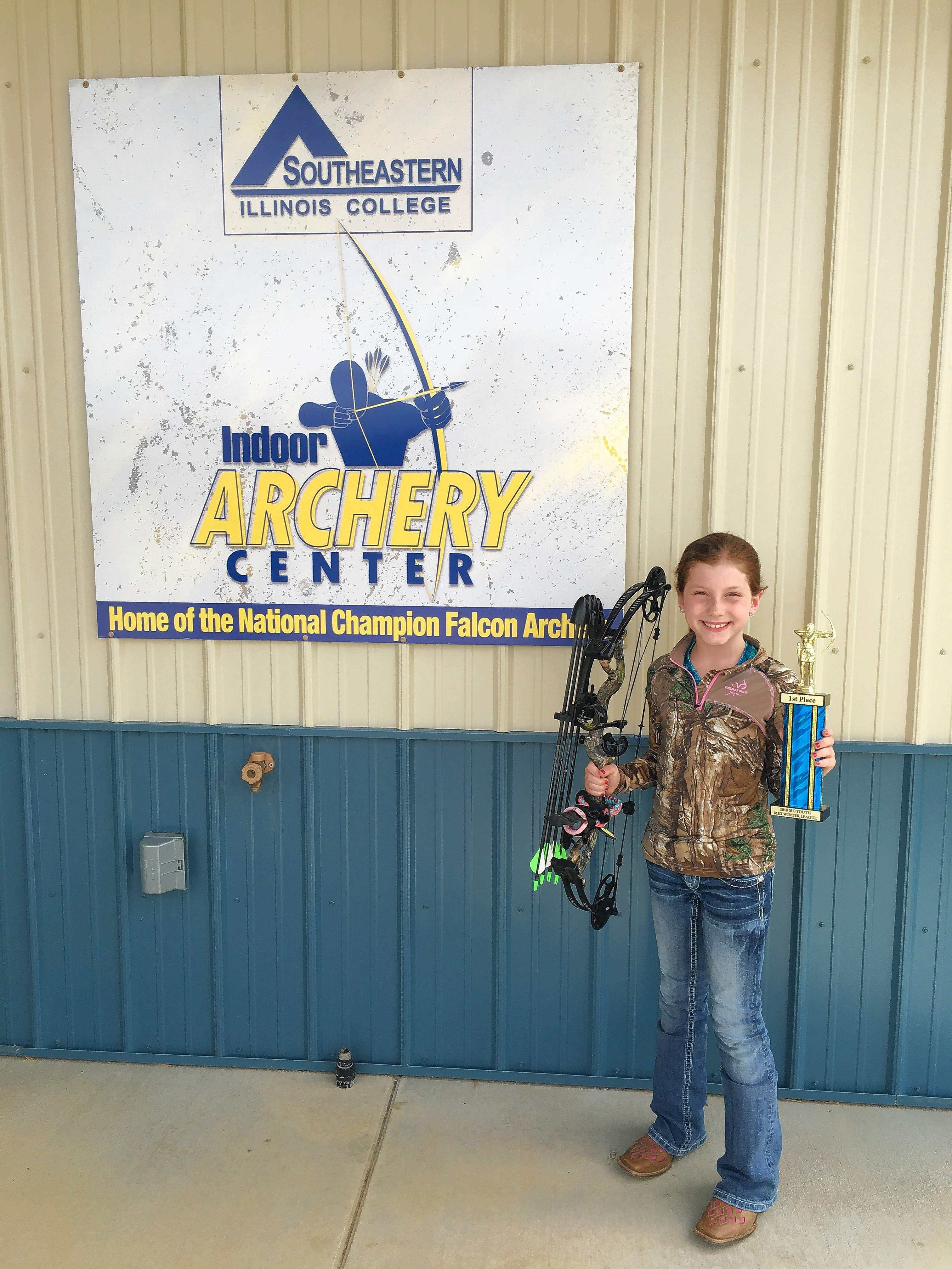 Youth archery league winner Kyndall Williams.