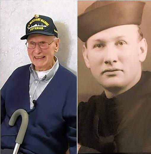 Gilbert Ledbetter today, and as a young Merchant Marine.