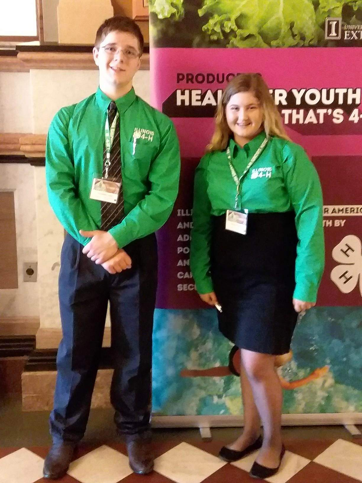 Saline County 4-H members Chloe Hopkins, right,  and Christian Jean join 4-H members from across the state at our State Capitol in Springfield for Legislative Connection.