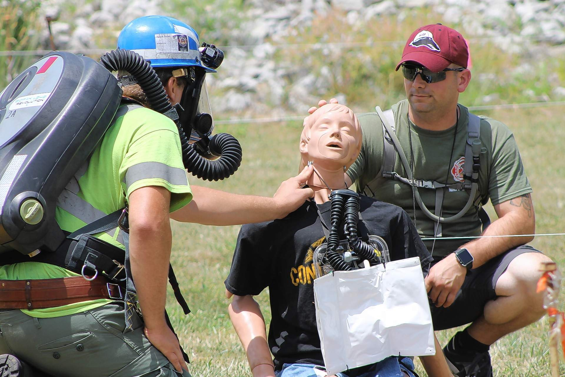"""The Wildcat Hills Team from Equality examines a """"miner down"""" during a first-aid exercise at the 2017 Mine Rescue and Skills Competition at SIC."""