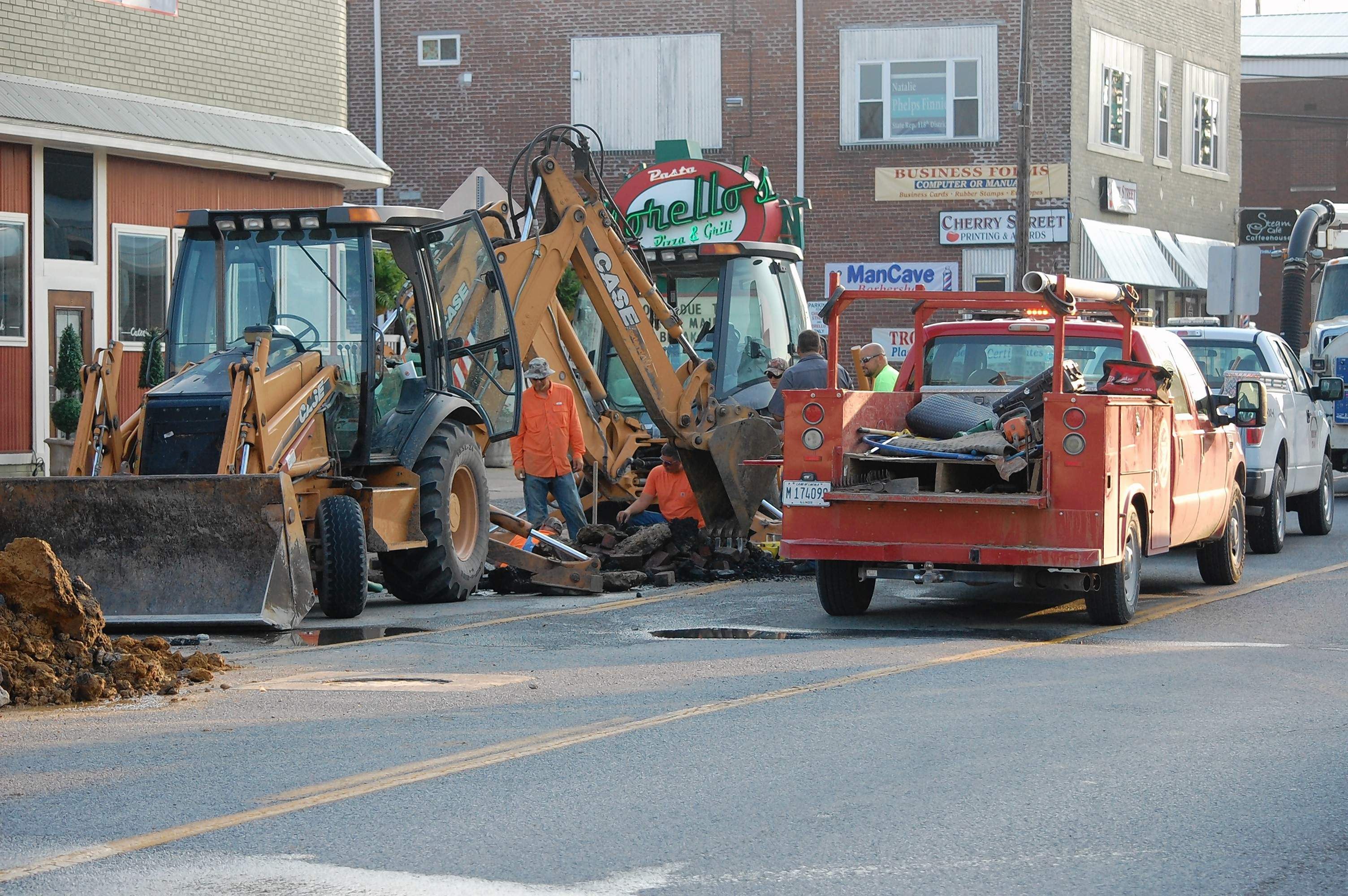 A look at the scene of the Poplar Street water main break Sunday afternoon.