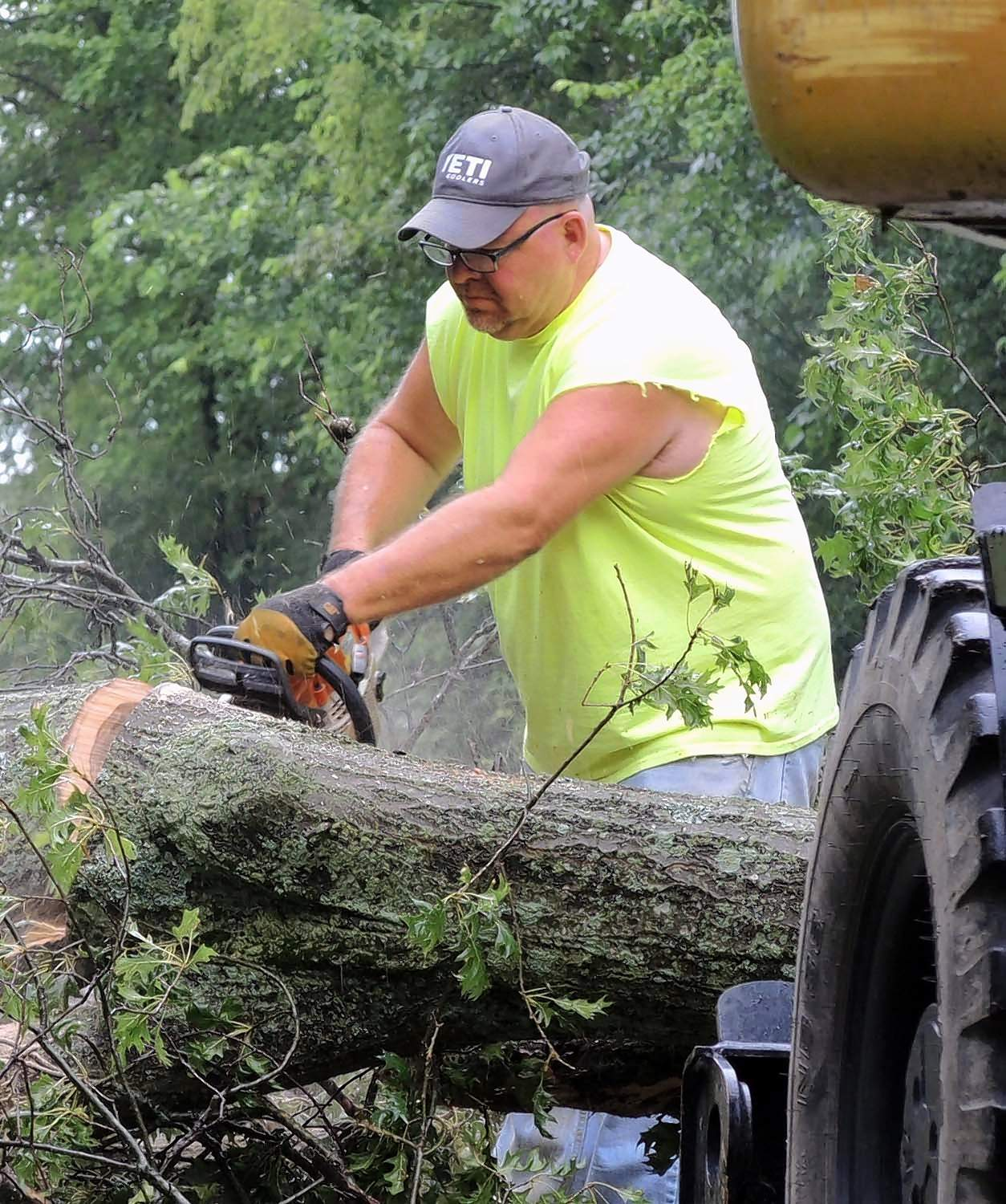 Saline County Highway Department maintenance worker Jamie Lambert cuts a limb from a large tree that fell on Tuller Road during a severe storm Tuesday just south of Carrier Mills.