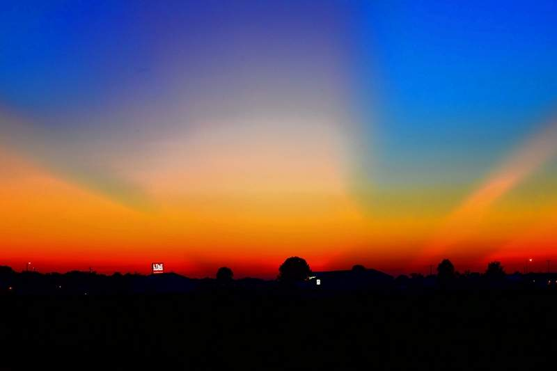 Wednesday's sunset, as seen from the Saline County Fairgrounds, had its share of fireworks, too.