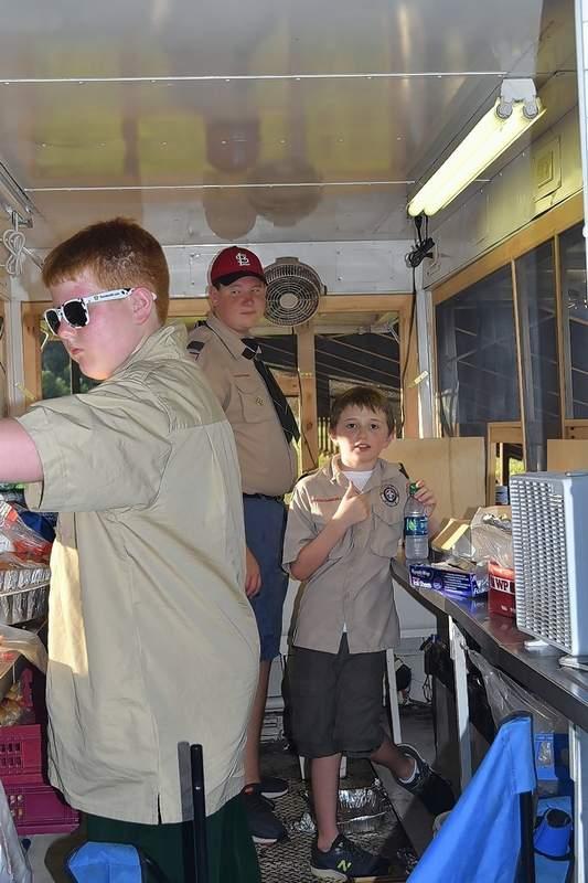 Eldorado Boy Scout Troop 7014 operates the Eldorado Rotary Club's food trailer. From left are Caden Lenkaitis, Zachary Stanford and Dillon Wiggins.