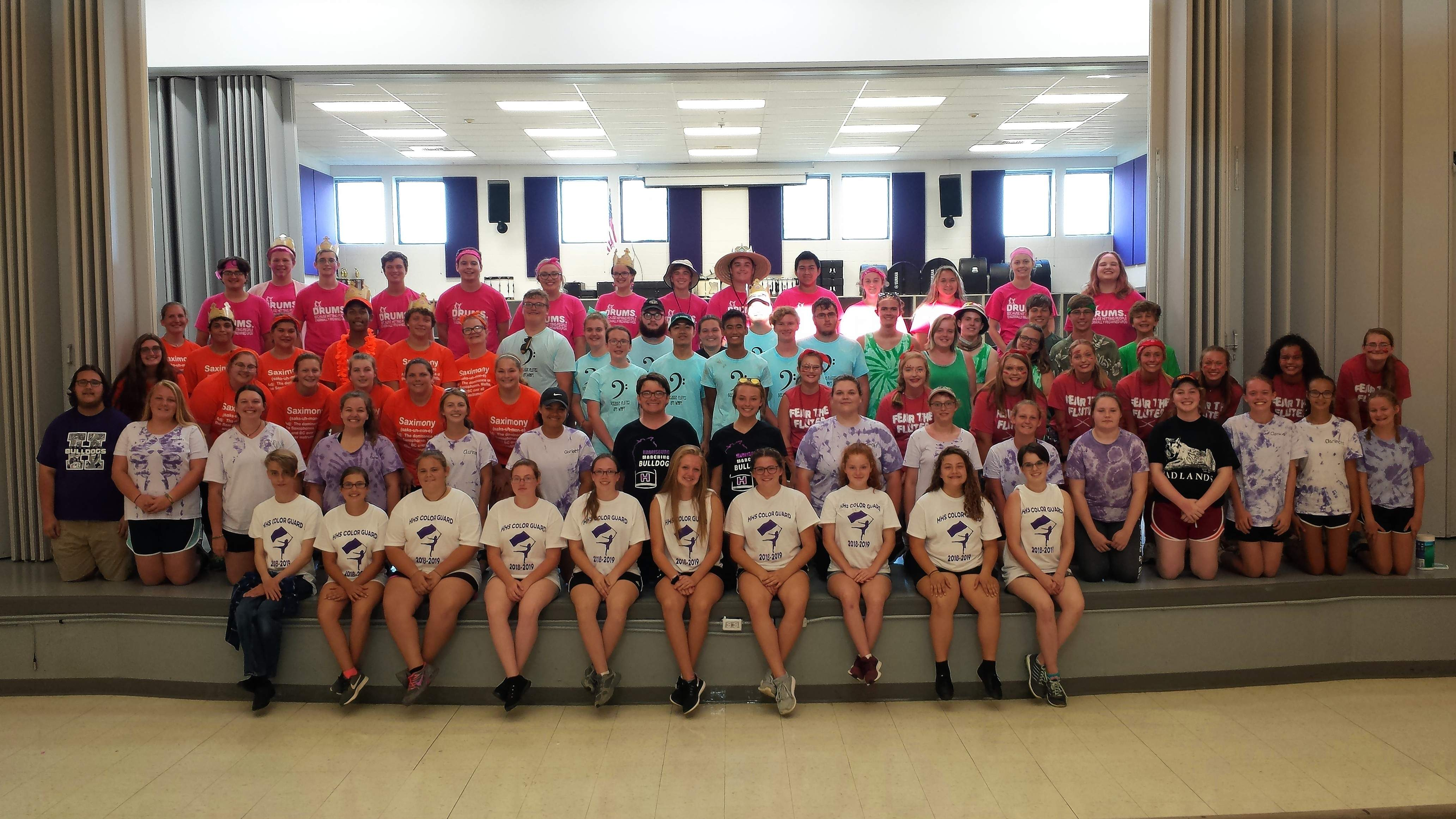 The Harrisburg High School Marching band gathers for a group photo at the end of its two-week summer band camp.