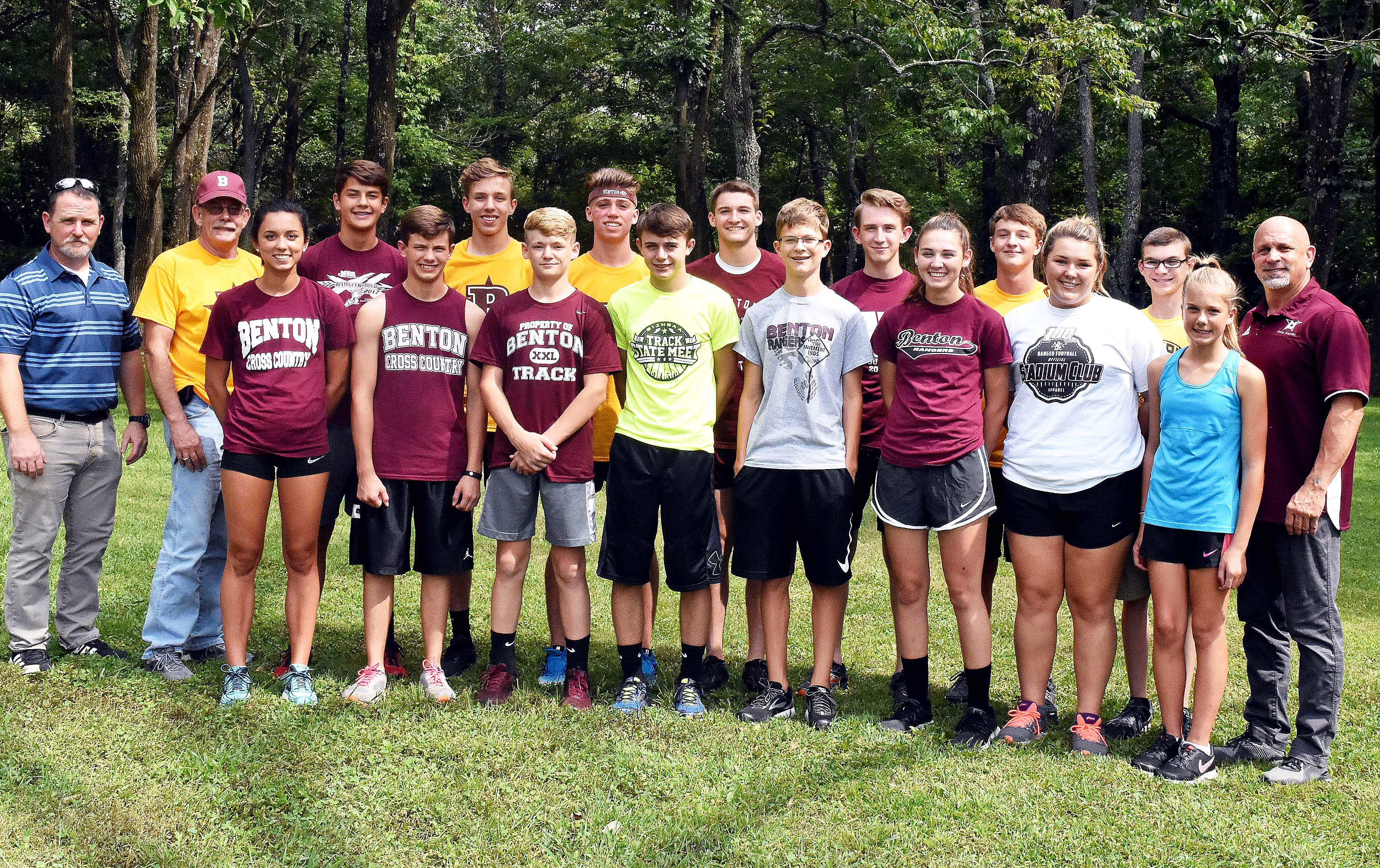 Benton High School will have a coed cross country team this fall. Team members, front row from left include: Mia McLain, Jay Simmons, Kaden Beatle, Chase Owens, James Tindle, Addisyn Miller, Katy Johnston and Haley Wallace. Back row: Assistant coach John Kreiger, assistant coach George Ward, Parker Sieveking, Joey Sample, Avery Potter, Mason Wills, Ethan Kreiger, Brady Gischer, manager Gage Owens and head coach Brent McLain.