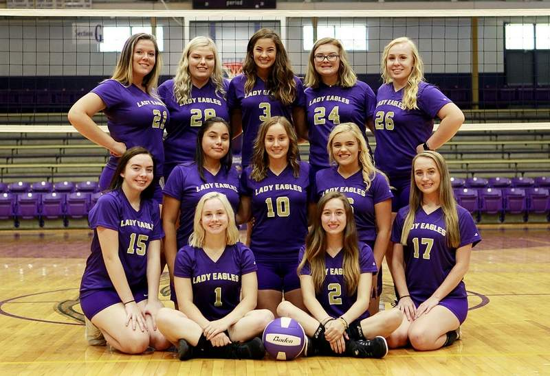 Members of the 2018 Eldorado varsity volleyball team include (front row, from left)Paige Munds and Kyla Pilkington. (Second row, from left) Trinity Cummins, Kianna Roberts, Lexie Mitchell, Lauryn Hampton and Baleigh Barton. (Third row, from left) Madison Gulley, Kinzie Sizemore, Emma Wargel, Lacey Hobbs and Jade Hise. Not pictured: Briley Lenkatis and Bethany Smith.