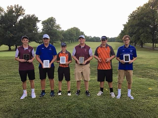 """The Top-5 golfers at the 2018 Chester Invitational Golf Match received plaques including, from left, Alex Kueker of Red Bud who was """"Low Medalist"""" (1st, 76); Eddie Brees of Trico (2nd Place tie, 78); Jarrett James of Chester (2nd Place tie 78); Jesse Suhre of Red Bud (4th Place 84); Jaden Mott of Chester (5th Place tie, 85); and Miles Parks of Sparta (5th Place tie, 85)."""