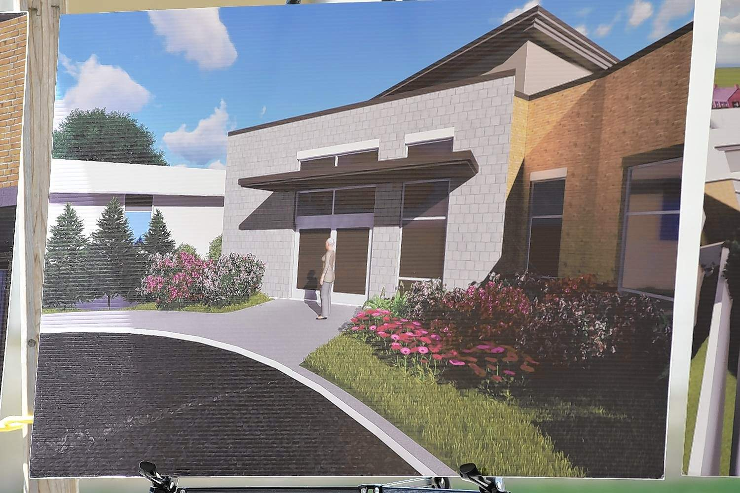 An artist's rendering of the new clinic entry.