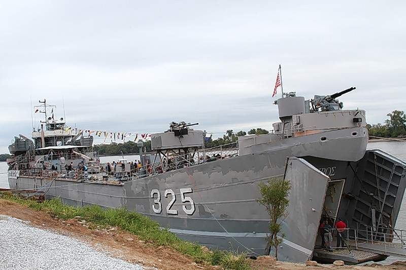 LST 325, a refurbished landing vessel that played role in the allied forces offensive during World War II, is returning to Chester for tours during the annual Popeye Picnic.